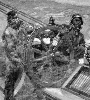 At the wheel in gale conditions was the work of two men.