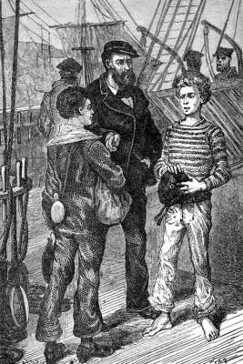 A ship's captain hiring two ship's boys.