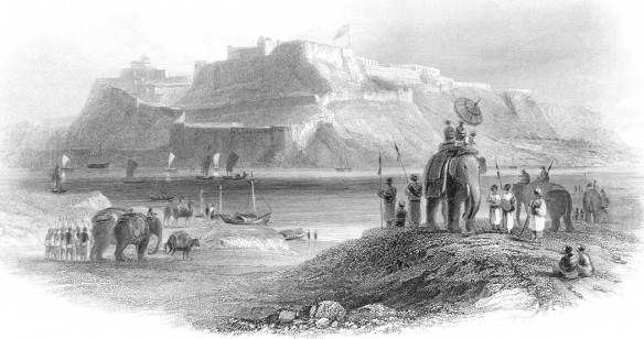 Fortress at Chunar in India, with Nabob's party in foreground