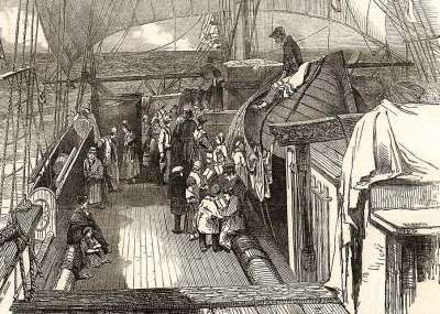 Deck view on board a small emigrant ship, with a schoolmaster teaching some young pupils. Based on artwork by J. Skinner Prout, 1849.