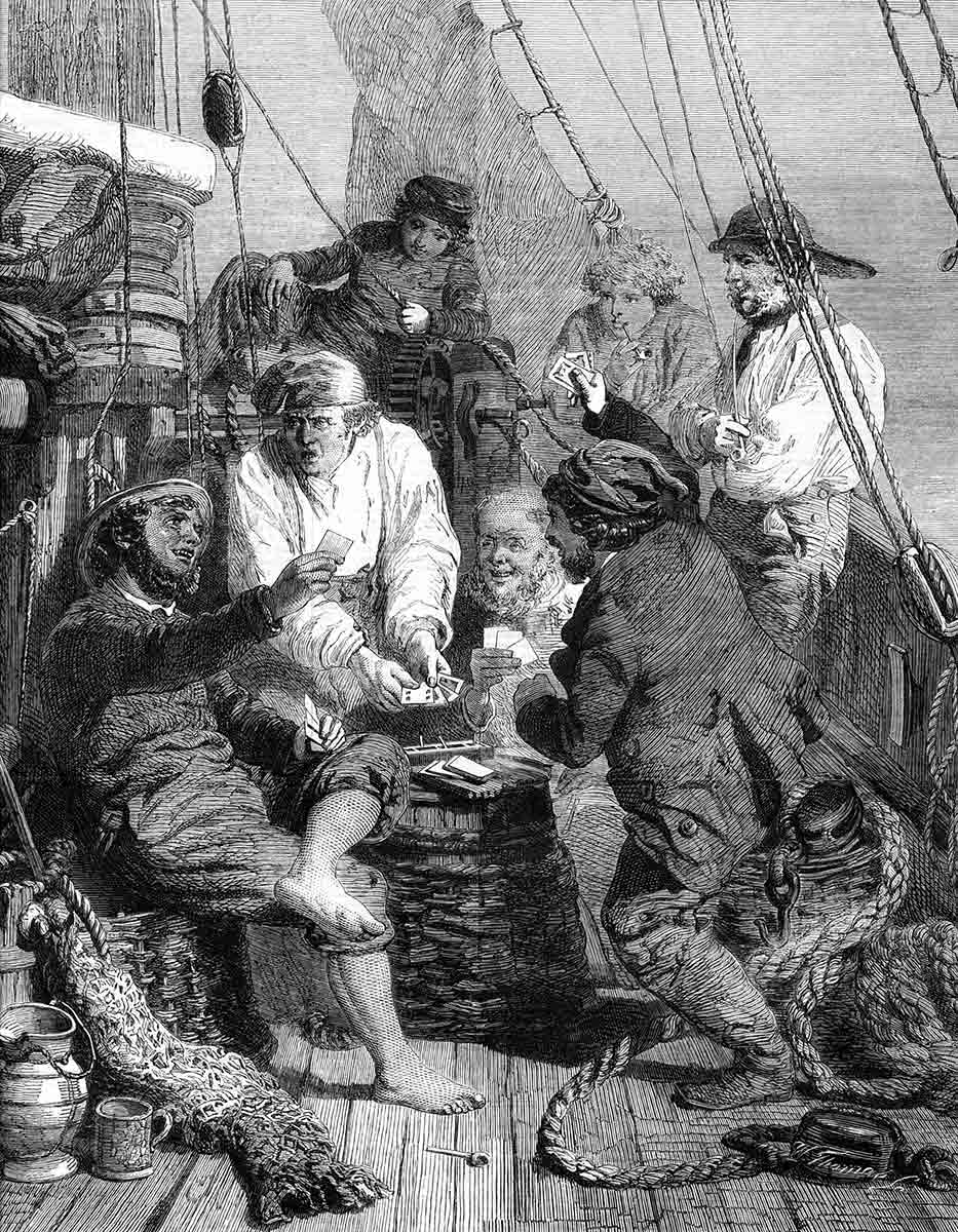 My favourite illustration of a ship's crew on board a small merchant ship. Many of the sailors - and passengers if it comes to that -were little more than five feet tall.