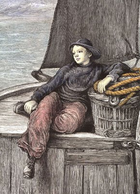 'Setting out'. A 19th century ship's boy. Based on artwork by T. Graham.