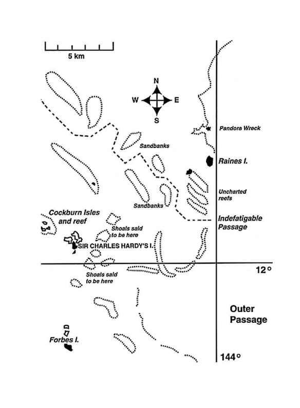 Indefatigable track through Great Barrier Reef.