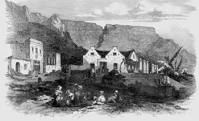 Dutch housing in a suburb of Capetown, c. 1860s. ILN artist.