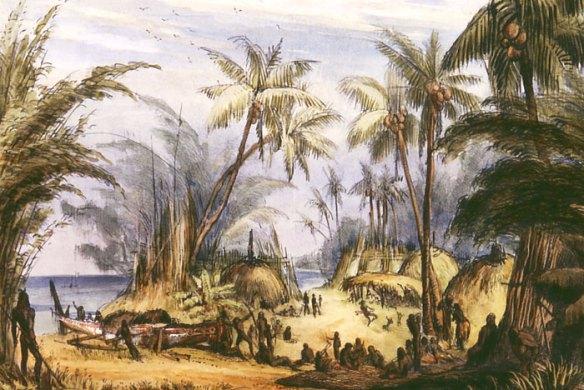 Bikar Bay village, Erub, Eastern islands, Torres Strait, c.1943.