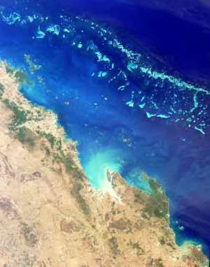 Satellite photo showing both the inner and outer passages up the coast of Queensland to the Torres Strait.
