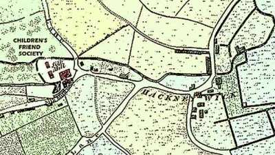 Map of Brenton Asylum at Hackney Wick, on the site of an old silk mill.