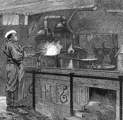 Ship's cook at his galley aboard emigrant ship 'Indus'. ILN artist.