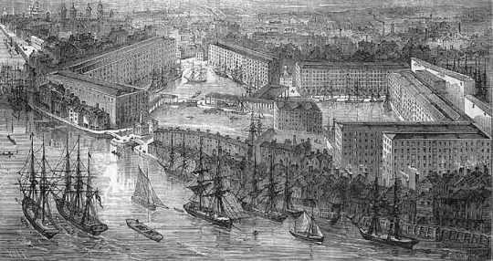 St Katharine Docks c. 1830s.