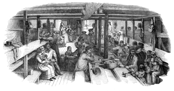 Dining in the steerage. ILN artist.