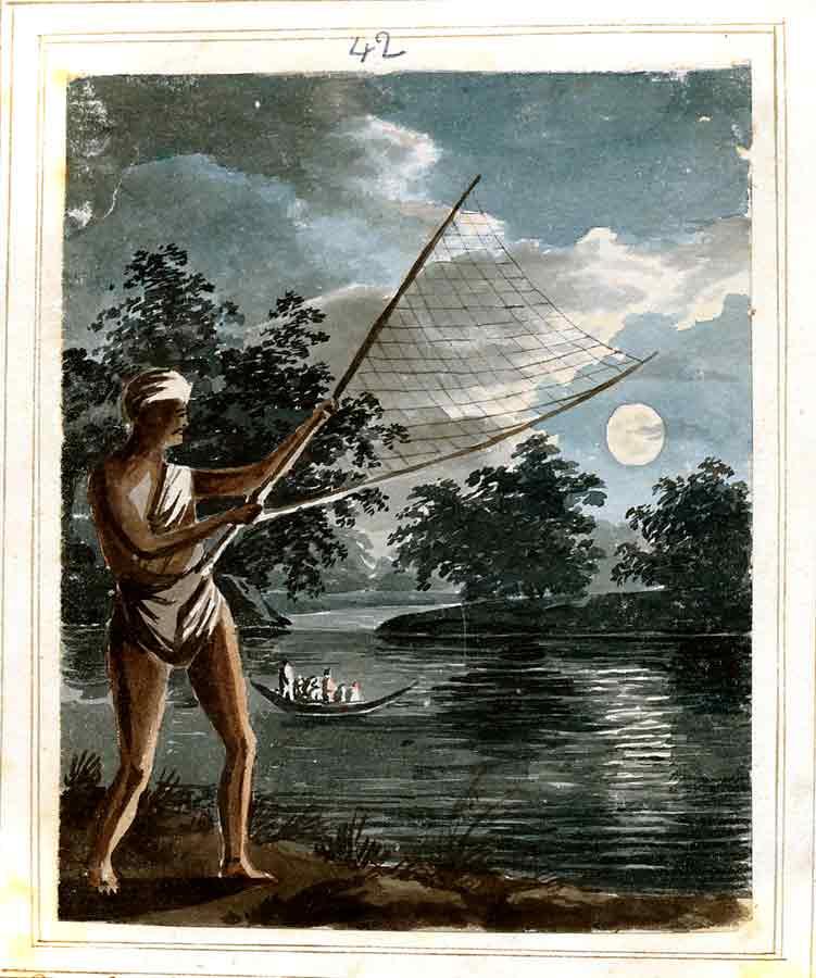 Night fisherman with net.