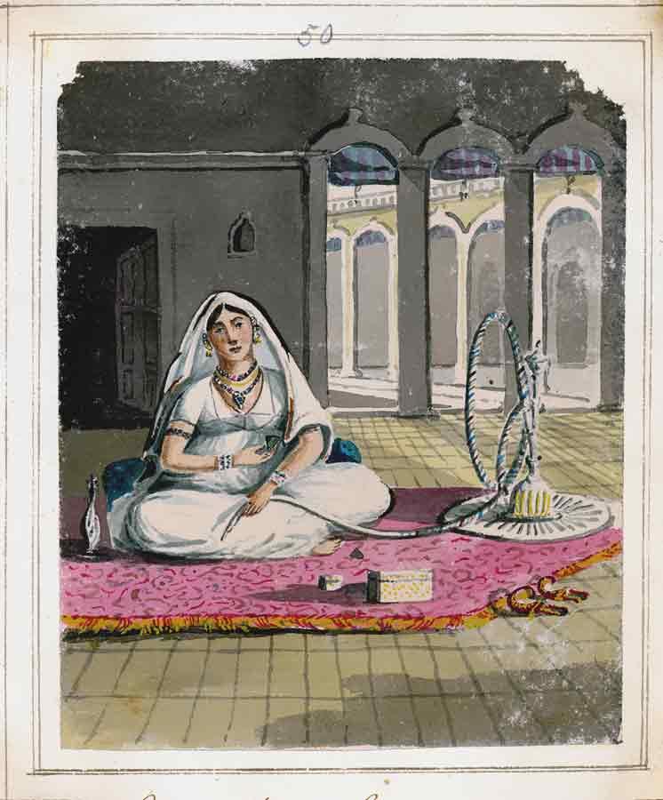 Mogul dancer with hookah pipe.