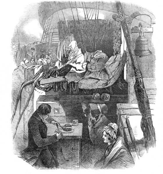 Supper on the forecastle. Based on artwork by J. Skinner Prout.