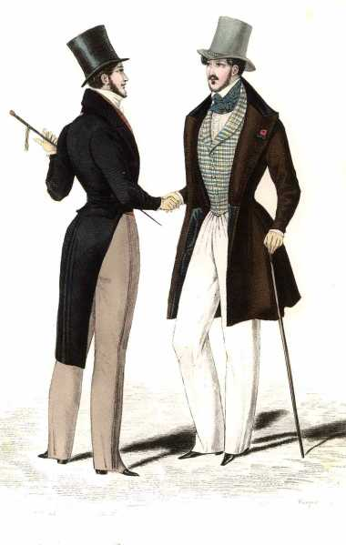 Sahib fashions in India, adopted from England despite the heat. 1834 styles.