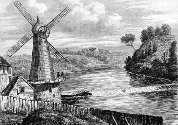 Windmills were ubiquitous in early Sydney. This one is at Parramatta. Used to grind local grains into flour. Artist: M. de Sainson.
