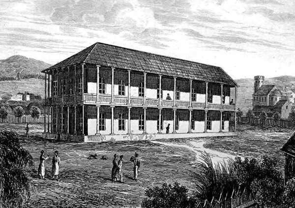 Sydney's military barracks on George st. Artist: M. de Sainson.